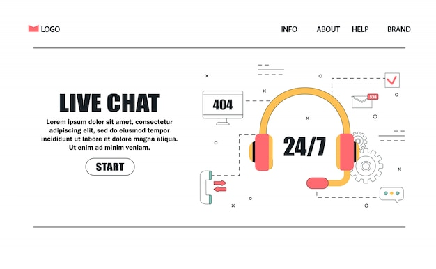 Customer service and advising clients concept for landing page