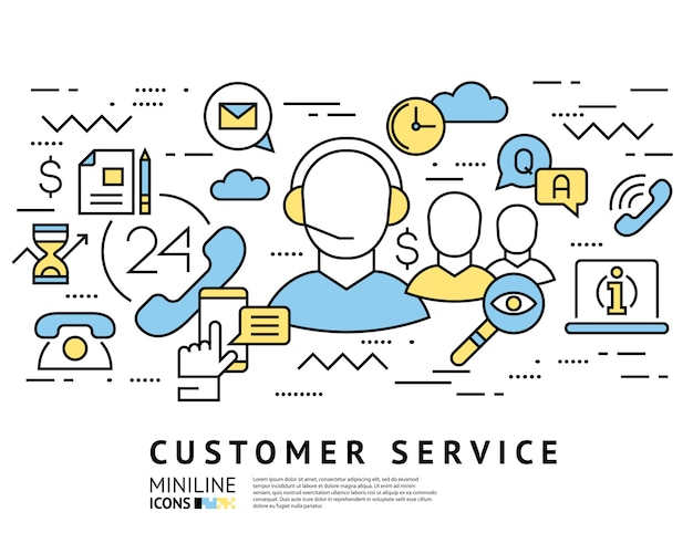 Customer service, call centre line icons