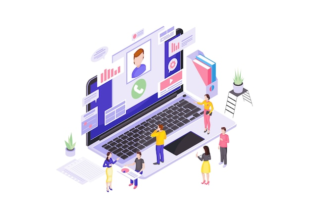 Customer service center isometric vector illustration