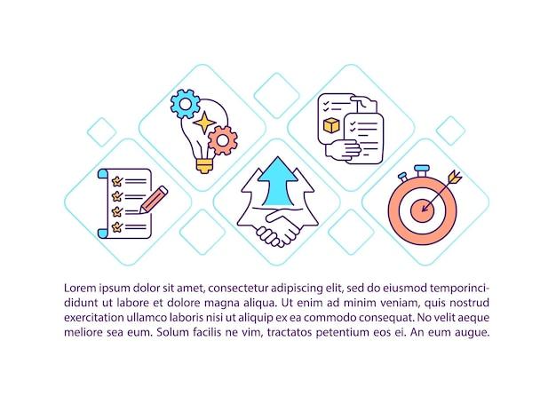 テキスト付きのカスタマーサービスチェックリストの概念アイコン。会社のブレーンストーミングpptページテンプレート。戦略的計画は売上を伸ばします。パンフレット、雑誌、線形の小冊子デザイン要素
