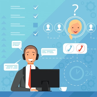 Customer service concept. 24h business online support managers operators complaint