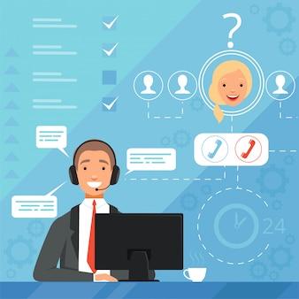 顧客サービスのコンセプト。 24時間営業のオンラインサポートマネージャーオペレーターの苦情