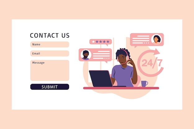 Концепция обслуживания клиентов. свяжитесь с нами через веб-форму. африканская женщина с наушниками и микрофоном с компьтер-книжкой. поддержка, помощь, колл-центр. иллюстрация. плоский стиль