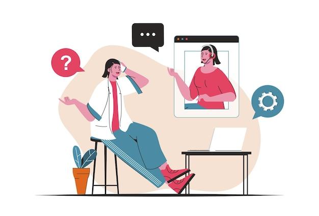 Концепция обслуживания клиентов изолирована. техническая поддержка, консультации по горячей линии кол-центра. люди сцены в плоском мультяшном дизайне. векторная иллюстрация для ведения блога, веб-сайт, мобильное приложение, рекламные материалы.
