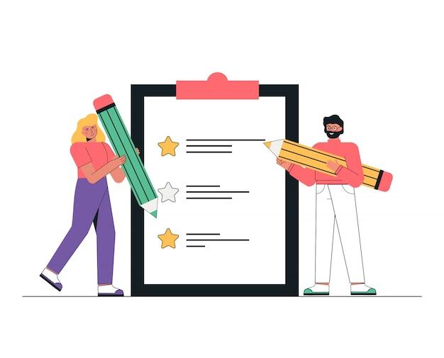 カスタマーサービスのコンセプト。男性と女性は巨大な鉛筆を手に持ち、レビューとフィードバックをオンラインで残します。