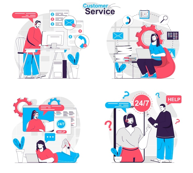 Customer service concept set operators answer calls and messages help customers