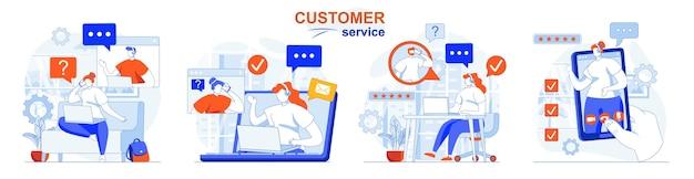 コールセンターテクニカルサポートホットラインヘルプラインのカスタマーサービスコンセプトセットワーク