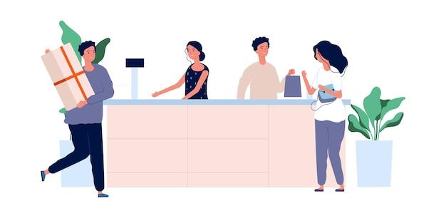 カスタマーサービスのコンセプト。商品がカウンターに立っている買い物客。ベクトルストアチーム男性女性フラット文字。イラストレジ係の女性と男性の労働者、チェックアウトセールスウーマン