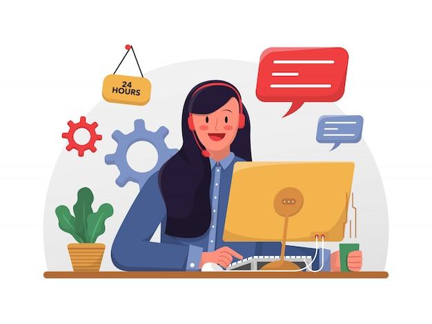 Клиент службы женщина горячая линия офисный работник иллюстрация