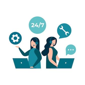 Операторы горячей линии обслуживания клиентов консультируют клиентов 24 7 глобальный онлайн-центр технической поддержки