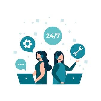 Customer service hotline operators advise customers 24 7 global online technical support center