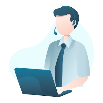 Customer service illustration with man wearing headset and typing at laptop