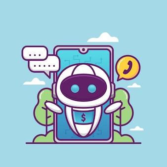 Customer service illustration with robot