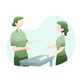Customer service illustration with two women talking together