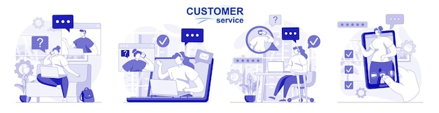 Customer service isolated set in flat design people advice and support operator call center