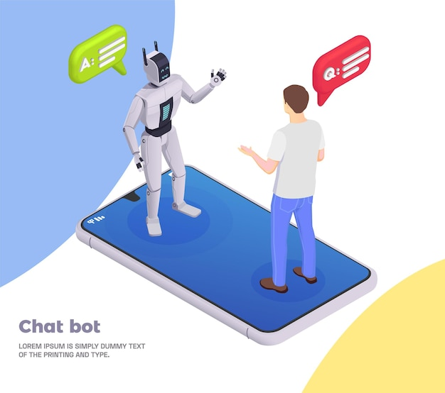 Customer service isometric composition chat bot headline and abstract situation with robot and human talk