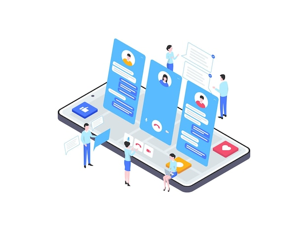 カスタマーサービスの等角図。モバイルアプリ、ウェブサイト、バナー、図、インフォグラフィック、その他のグラフィックアセットに適しています。