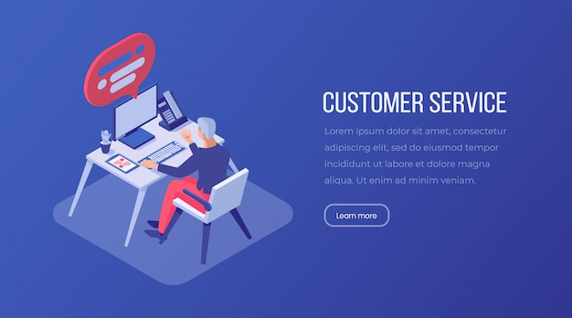 Customer service isometric landing page template.