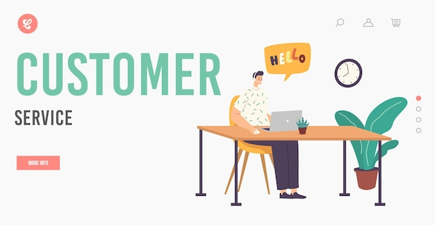 Customer service landing page template. technical support specialist solve client problems online. hotline call center staff in headset work on pc. operator help client. cartoon vector illustration