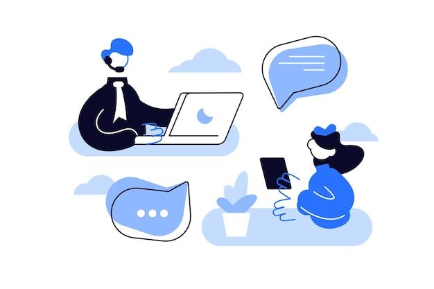 . 고객 서비스, 남성 핫라인 운영자가 고객에게 조언, 온라인 글로벌 기술