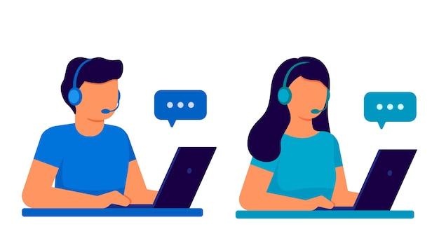 Обслуживание клиентов. центр обработки вызовов оператора мужчины и женщины с наушниками и микрофоном с компьтер-книжкой.