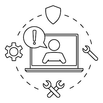 Обслуживание клиентов. человек с речевым пузырем на экране ноутбука. техническая поддержка онлайн. иллюстрация концепции для помощи, call-центра, виртуальной справочной службы. поддержите решение или совет. векторный контур