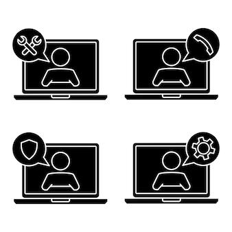 Обслуживание клиентов. человек с речевым пузырем на экране ноутбука. техническая поддержка онлайн. иллюстрация концепции для помощи, call-центра, виртуальной справочной службы. поддержите решение или совет. вектор