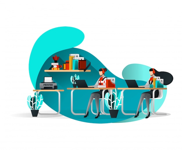 Customer service office with flat illustration style