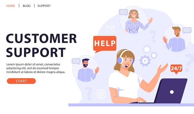 Customer service, online assistant or call center concept.