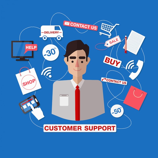 Customer service. online service. customer support. support call center. man assistant. help.