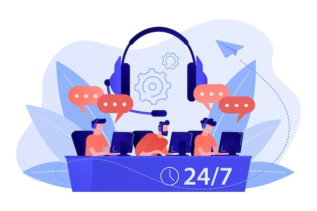 Операторы обслуживания клиентов с гарнитурами за компьютерами консультируют клиентов 24/7. колл-центр, система обработки вызовов, иллюстрация концепции виртуального колл-центра