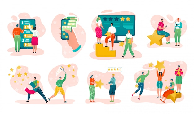 고객 서비스 등급 검토, 스마트 폰 화면 투표 삽화 세트에 품질 등급을 가진 다양한 전문가. 평가 별 및 사람들 고객 피드백이있는 피드백 개념.