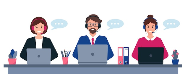 Customer service support or call center concept. young man and women with headphones microphone and computer