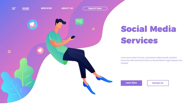 Customer service and support landing page template in flat style