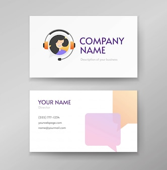 Customer service support logo and client help desk agent assistance business card template design