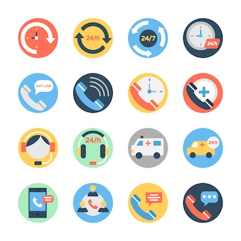 Customer services, helpline and customer support icons