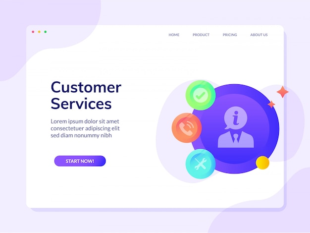 Customer services website landing page