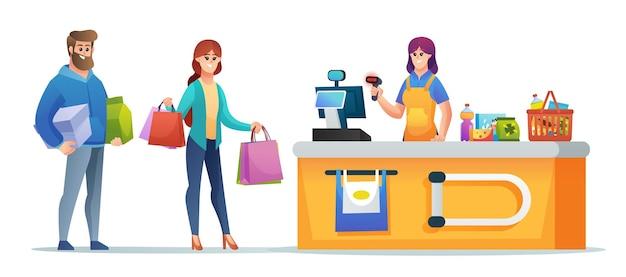 Покупатель делает покупки и кассир на кассовой стойке супермаркета иллюстрации концепции