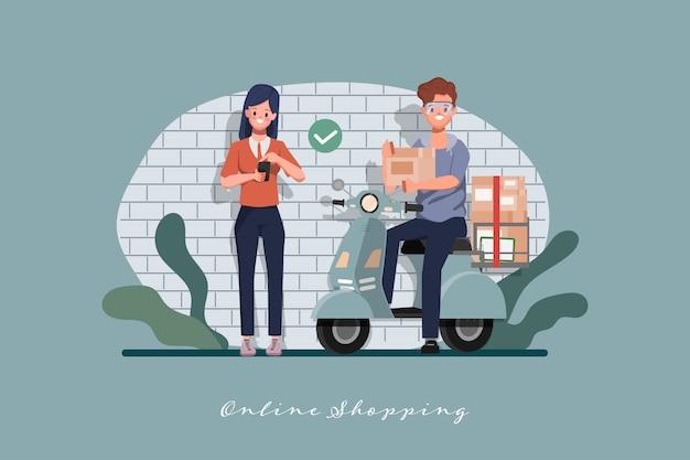 Клиент покупки онлайн концепции. оставайтесь дома и начинайте новый нормальный образ жизни с покупками.