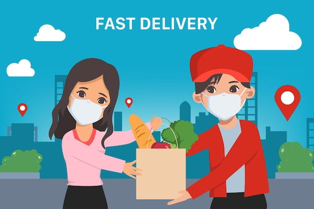 Customer shopping online fast delivery during covid19 stay at home avoid the coronavirus