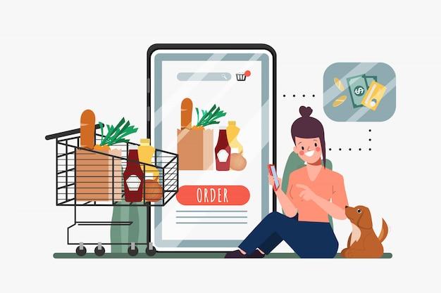 스마트 폰 모바일에서 온라인 쇼핑을하는 고객. 슈퍼마켓 온라인 백화점. 쇼핑에 새로운 정상적인 생활 방식.