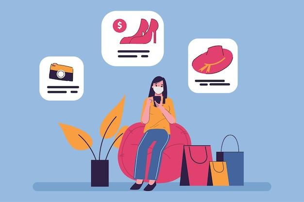 Покупатель совершает покупки в интернете. оставайтесь дома, чтобы не допустить распространения коронавируса. интернет-магазины на мобильной концепции.