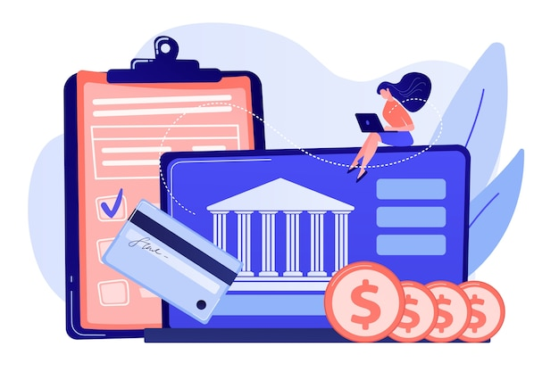 Customer sitting with laptop and bank with credit card and financial savings. personal bank account, savings bank deposit, fixed rate loan concept illustration