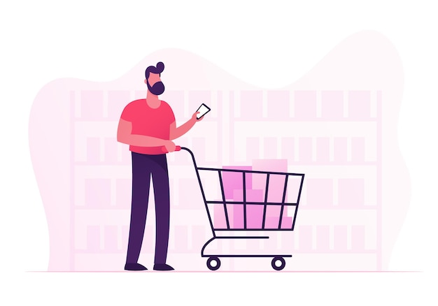 Customer stand in grocery or supermarket with goods in shopping trolley holding smartphone in hand