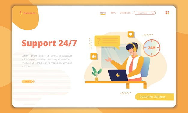 Customer support 24/7 landing page template