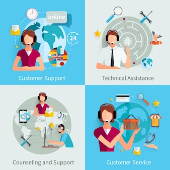 Customer support 4 flat icons square Free Vector