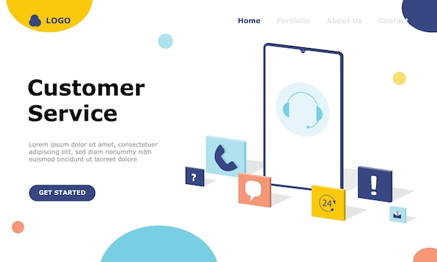 Customer support and advising clients illustration concept landing page