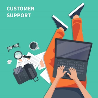 Customer support agent with lap top