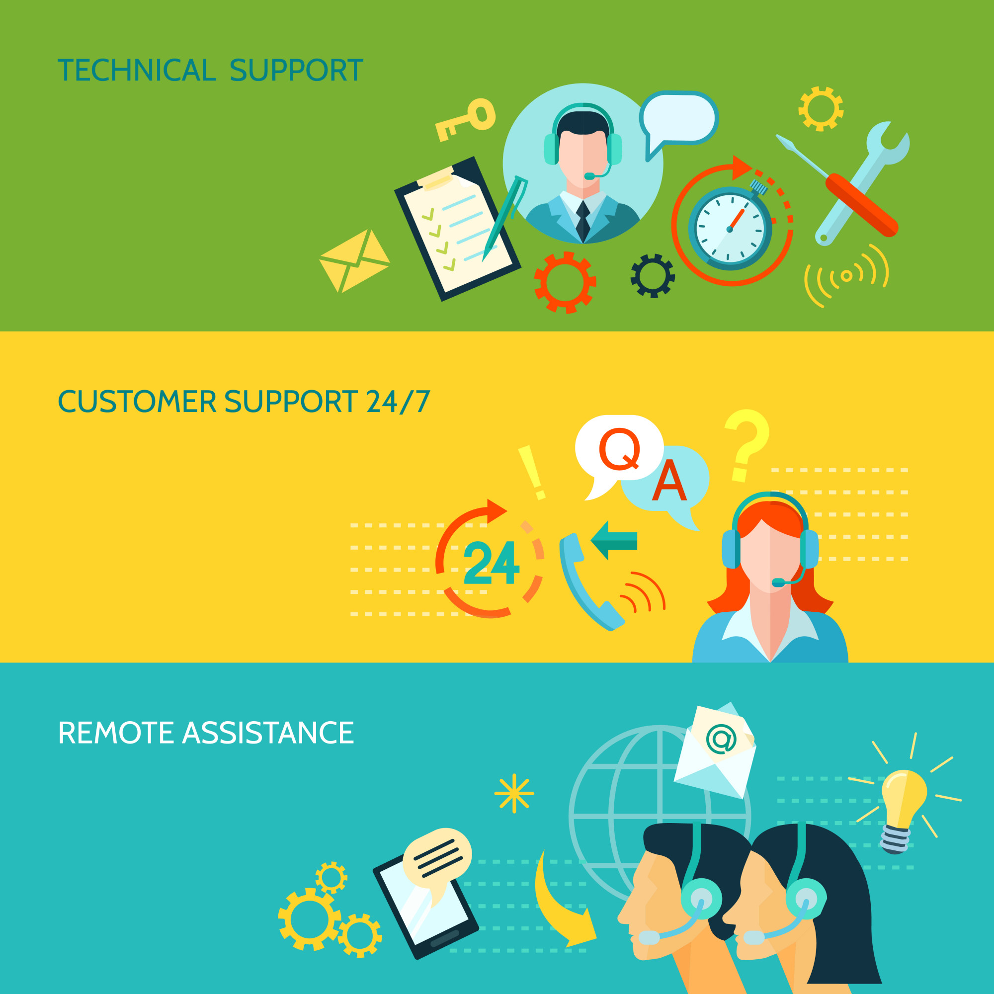 Customer Support And Technical Assistance Horizontal Banners