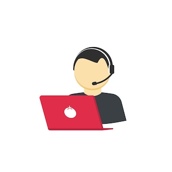 Customer support assistant or help center operator icon isolated